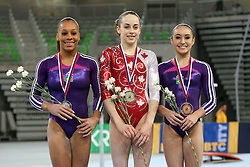 05-04-2015 SLO: World Challenge Cup Gymnastics, Ljubljana<br /> Isabela Maria Onyshko of Canada, second place for Lorrane Dos Santos Oliveira of Brasil and third place for Julie Kim Sinmon of Brasil in Balance Beam during Final of Artistic Gymnastics World Challenge Cup Ljubljana, on April 5, 2015 in Arena Stozice, Ljubljana, Slovenia. Photo by Morgan Kristan / RHF Agency