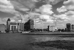 Thames view towards Albert Embankment. Cranes have become a symbol of London skyline, a costant presence that is evolving London cityscape.