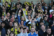 Burton Albion fans celebrate the win after the final whistle during the EFL Sky Bet Championship match between Burton Albion and Leeds United at the Pirelli Stadium, Burton upon Trent, England on 22 April 2017. Photo by John Potts.