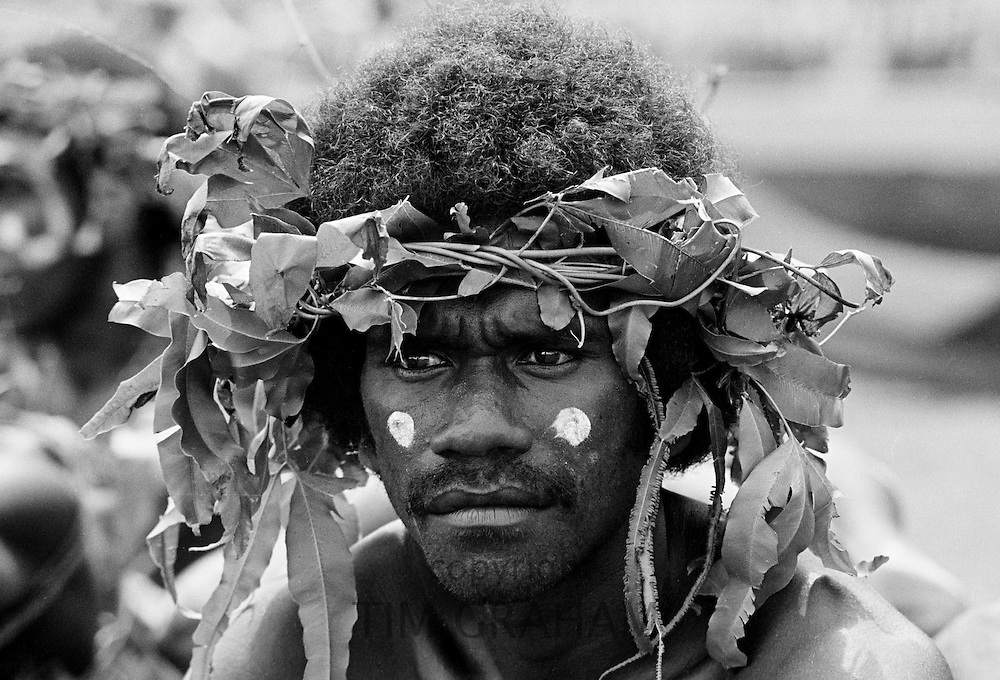 South Pacific islander in native dress at traditional tribal ceremony  in Honiara, Solomon Islands, South Pacific