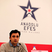 Anadolu Efes's during their Royal Hali Turkey Cup Press Conference at Divan Hotels Arena in Gaziantep Turkey on Saturday 21 February 2015. Photo by Aykut AKICI/TURKPIX