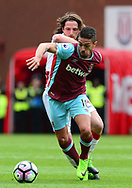 Manuel Lanzini of West Ham battles with Joe Allen of Stoke city. Premier league match, Stoke City v West Ham Utd at the Bet365 Stadium in Stoke on Trent, Staffs on Saturday 29th April 2017.<br /> pic by Bradley Collyer, Andrew Orchard sports photography.