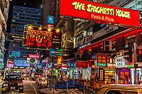 Kowloon, Hong Kong, China- June 9, 2014: streets lights at night of Nathan Road in Tsim Sha Tsui