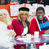"""Dylan Dreyer as Baby Spice. Tamron Hall as Julia Roberts' Vivian from """"Pretty Woman,"""" and Al Roker as Steve Urkel during the annual Halloween Episode of NBC's The Today Show in New York City."""