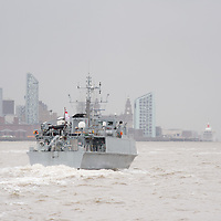 LIVERPOOL, UK, 23rd May, 2013. Royal Navy vessel HMS Pembroke arrives in the River Mersey, Liverpool, UK, as part of the Battle of the Atlantic 70th anniversary celebration weekend. A fleet of 21  Royal Naval vessels will visit over the weekend.