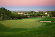 The 5th hole on the Desert Golf Course at the Phoenician from Camelback Mountain, Phoenix, Arizona.