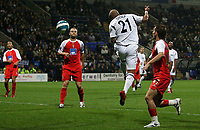Photo: Paul Thomas.<br /> Bolton Wanderers v Braga. UEFA Cup. 25/10/2007.<br /> <br /> El Hadji Diouf (21) of Bolton scores. *** Local Caption *** *** UK ONLY ***