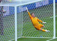 Football - UEFA 2021 European Championship Final - Semi-final - Denmark vs England - Wembley Stadium<br /> <br /> Jordan Pickford of England is unable to stop the free kick from Mikkel Demsgaard for Denmark's 1st half goal<br /> <br /> Credit : COLORSPORT / Andrew Cowie