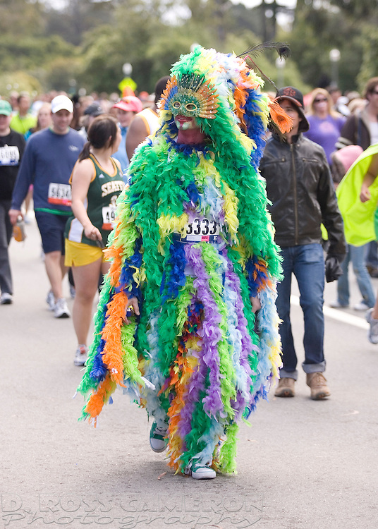 """John Duplechein, Jr. of San Francisco came costumed as a """"gay chicken"""" for the 100th running of the Bay to Breakers 12K through San Francisco, Sunday, May 15, 2011. (Photo by D. Ross Cameron)"""