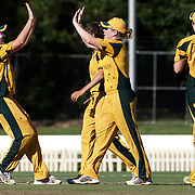 Australia celebrate another wicket during the match between Australia and Pakistan in the Super 6 stage of the ICC Women's World Cup Cricket tournament at Bankstown Oval, Sydney, Australia on March 16 2009, Australia won the match by 107 runs. Photo Tim Clayton