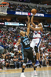 August 17, 2018 - Dallas, TX, U.S. - DALLAS, TX - AUGUST 17: Tri-State David Hawkins #34 pulls up a jumper over Power Corey Maggette #50 during the Big 3 Basketball playoff game between the Power and the Tri-State on August 17, 2018 at the American Airlines Center in Dallas, Texas. Power defeats Tri-State 51-49. (Photo by Matthew Pearce/Icon Sportswire) (Credit Image: © Matthew Pearce/Icon SMI via ZUMA Press)