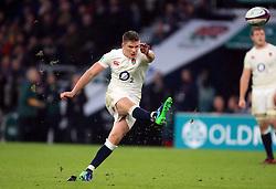 England's Owen Farrell kicks a conversion during the Autumn International match at Twickenham Stadium, London.