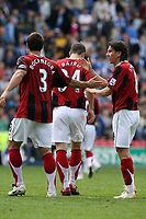 Photo: Sportsbeat Images.<br />Wigan Athletic v Fulham. The FA Barclays Premiership. 15/09/2007.<br />Fulham's Carlos Bocanegra (L) and Alexi Smertin (R) celebrate the lead