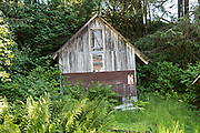 A tiny wooden cottage along the boardwalk on Hammer Slough in Petersburg, Mitkof Island, Alaska. Petersburg settled by Norwegian immigrant Peter Buschmann is known as Little Norway due to the high percentage of people of Scandinavian origin.