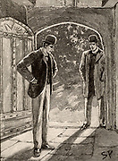 The Adventure of the Musgrave Ritual'. Holmes, left, and Watson arriving at the spot that answering all the questions left for each Musgrave heir has led them. From 'The Adventures of Sherlock Holmes' by Conan Doyle from 'The Strand Magazine' (London, 1893). Illustration by Sidney E Paget, the first artist to draw Sherlock Holmes.  Engraving.