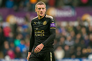 Jamie Vardy of Leicester City looks on. Premier league match, Swansea city v Leicester city at the Liberty Stadium in Swansea, South Wales on Saturday 21st October 2017.<br /> pic by Aled Llywelyn, Andrew Orchard sports photography.