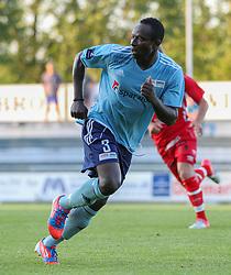 Samuel Agba (FC Helsingør) under træningskampen mellem FC Helsingør og IS Halmia (Sverige) den 24. juli 2012 på Helsingør Stadion (Foto: Claus Birch).