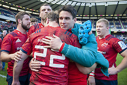 March 30, 2019 - Edinburgh, Scotland, United Kingdom - Joey Carberry and Tyler Bleyendaal of Munster celebrate during the Heineken Champions Cup Quarter Final match between Edinburgh Rugby and Munster Rugby at Murrayfield Stadium in Edinburgh, Scotland, United Kingdom on March 30, 2019  (Credit Image: © Andrew Surma/NurPhoto via ZUMA Press)