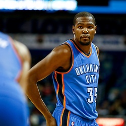 Dec 2, 2014; New Orleans, LA, USA; Oklahoma City Thunder forward Kevin Durant (35) look over to guard Russell Westbrook (0) during the second half of a game against the New Orleans Pelicans at the Smoothie King Center. The Pelicans defeated the Thunder 112-104. Mandatory Credit: Derick E. Hingle-USA TODAY Sports