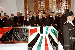 Syrian president Hafez El Assad (center) seen during King Hussein's funeral at the Royal palace in Amman, Jordan on February 8, 1999. Twenty years ago, end of January and early February 1999, the Kingdom of Jordan witnessed a change of power as the late King Hussein came back from the United States of America to change his Crown Prince, only two weeks before he passed away. Photo by Balkis Press/ABACAPRESS.COM