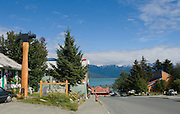View looking down main street towards the  harbor in Haines, Alaska