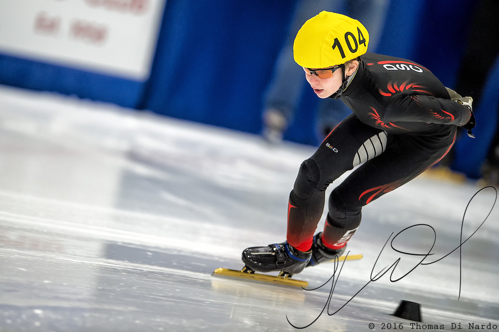 March 20, 2016 - Verona, WI - Alec Sklutovsky, skater number 104 competes in US Speedskating Short Track Age Group Nationals and AmCup Final held at the Verona Ice Arena.
