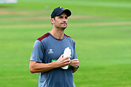 Somerset head coach Jason Kerr looks glum as play is abandoned for the day during the Specsavers County Champ Div 1 match between Somerset County Cricket Club and Essex County Cricket Club at the Cooper Associates County Ground, Taunton, United Kingdom on 25 September 2019.