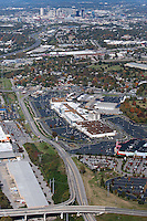 Aerial photo of the Nashville Skyline showing I-65, I-440, 100 Oaks Mall, Armory Drive and Woodmont Boulevard in the foreground.