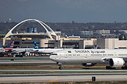 A Saudi Arabian Airlines Boeing 777-3FG from Jeddah taxis to the Tom Bradley International Terminal after landing at Los Angeles International Airport (LAX) on Saturday, February 29, 2020 in Los Angeles. (Brandon Sloter/Image of Sport)
