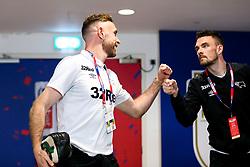 Richard Keogh is greeted by Scott Malone of Derby County - Rogan/JMP - 27/05/2019 - FOOTBALL - Wembley Stadium - London, England - Aston Villa v Derby County - Sky Bet Championship Play-Off Final.