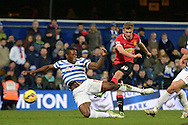 James Wilson of Manchester United has a shot blocked by Nedum Onuoha of QPR. Barclays Premier league match, Queens Park Rangers v Manchester Utd at Loftus Road in London on Saturday 17th Jan 2015. pic by John Patrick Fletcher, Andrew Orchard sports photography.