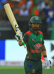 September 28, 2018 - Dubai, United Arab Emirates - Bangladesh cricketer Liton Das celebrates after 50 runs   during the final cricket match of Asia Cup 2018  between India and Bangladesh at Dubai International cricket stadium,Dubai, United Arab Emirates. 09-28-2018  (Credit Image: © Tharaka Basnayaka/NurPhoto/ZUMA Press)
