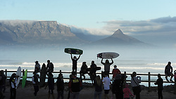 South Africa - Cape Town - 5 May 2020 - Surfers protesting on Blouberg Beach, Cape Town over not being allowed to surf under the current lockdown level 4. Police were on the scene but all went peaceful. Photographer: Armand Hough/African News Agency(ANA)