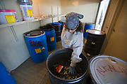 Batteries, solvents and cleaning materials get put in large drums and then sealed before shipping. S.A.F.E  Collection Center, Sun Valley, Bureau of Sanitation for the City of Los Angeles, California, USA