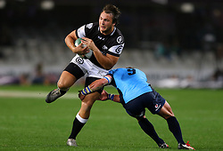 Andre Esterhuizen of the sharks is tackled by Piet van Zyl during the Currie Cup match between the The Sharks and The Blue Bulls held at King's Park, Durban, South Africa on the 27th August 2016<br /> <br /> Photo by:   Anesh Debiky / Real Time Images