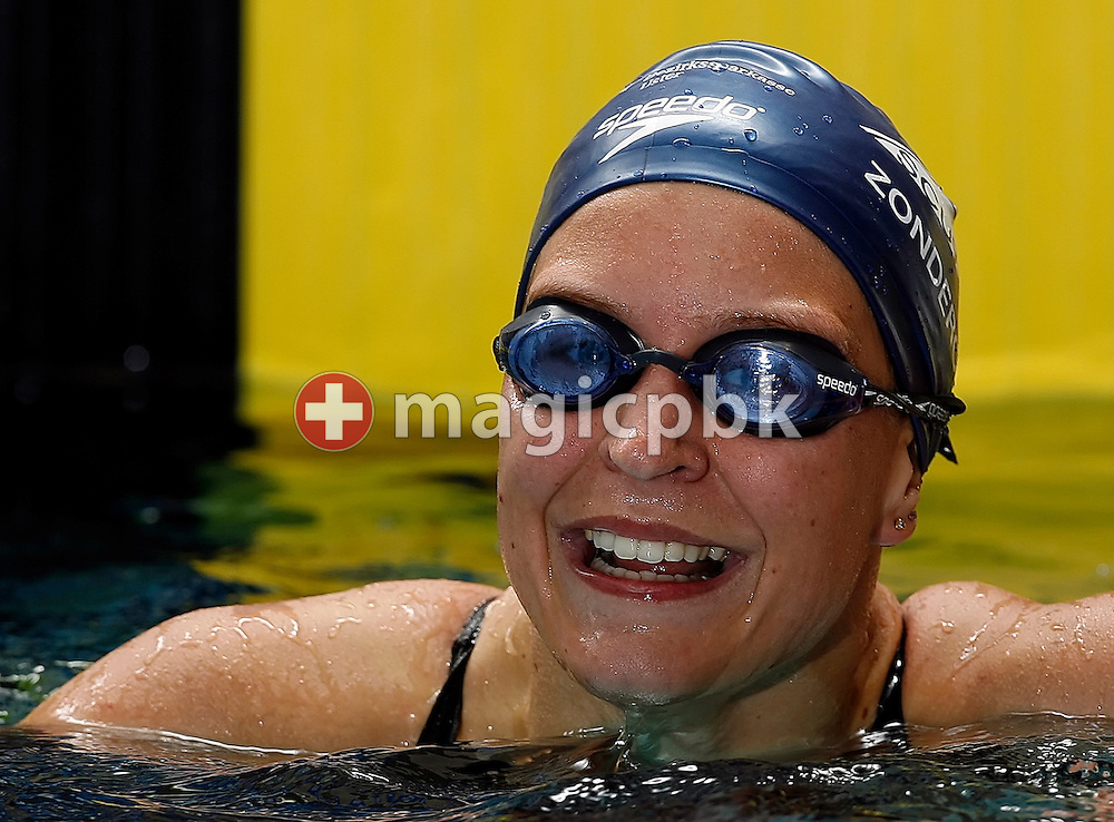 Kitty Zonderop of the Netherlands and from SC Uster Walisellen jubilates after finishing third in the women's 200m individual medley (IM) final in the Hallenbad Oerlikon at the Swimming Swiss Championships in Zurich, Switzerland, Saturday 12 May 2007. (Photo by Patrick B. Kraemer / MAGICPBK)