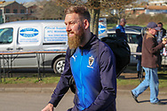 AFC Wimbledon midfielder Scott Wagstaff (7) arriving during the EFL Sky Bet League 1 match between AFC Wimbledon and Charlton Athletic at the Cherry Red Records Stadium, Kingston, England on 23 February 2019.