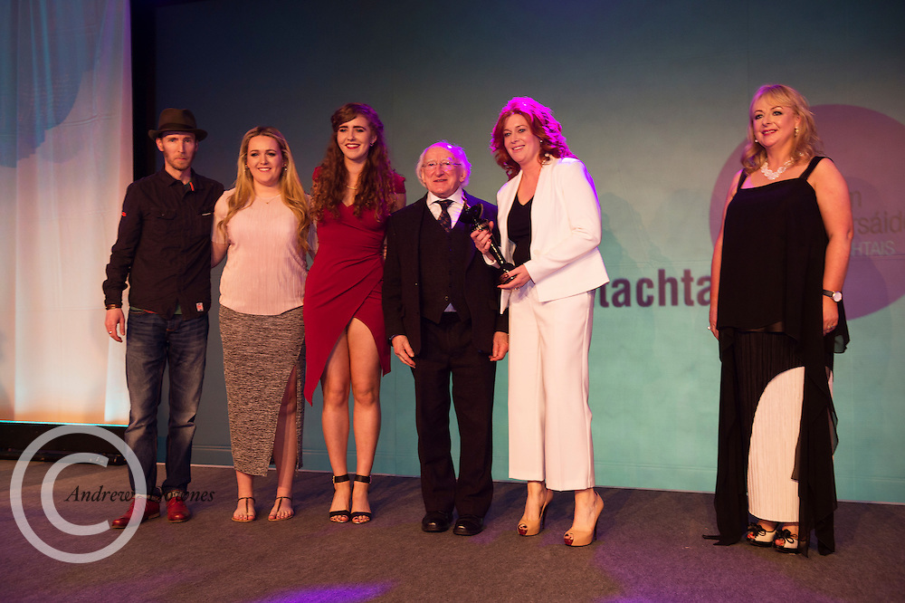 """report free. TG4, the Irish language television station, was presented with the Lifetime Achievement Award by President Michael D. Higgins at the Oireachtas Media Awards. Other winners on the night included Bláthnaid Ní Chofaigh for her weekly RTÉ Raidió na Gaeltachta show 'Bláthnaid Libh', Stíofán Ó Fearail, from Gaeltacht band Seo Linn and Alan Titley, Irish Times columnist.<br /> Best Radio Broadcaster went to Raidio na Gaeltachta's Rónán Mac Aodha Bhuí whilst Síle Nic Chonaonaigh took home the award for Best Television Broadcaster. Galway's Tara Breathnach won Best Actor for her role as the mother of an autistic boy in Maidhm.<br /> The annual awards, which took place in the Salthill Hotel, Galway, celebrate achievement and excellence in the Irish language media sector and honour actors, journalists, presenters, programme makers and others who have excelled in their contributions in the last year. A new category for Best Short Film was introduced this year and was won by Meangadh Fíbín for their film Snámh in aghaidh Easa.<br /> """"It's a huge honour to have the President present the awards, particularly as TG4 celebrates its 20th anniversary this year"""" said Liam Ó Maolaodha, Director of an tOireachtas. """"President Higgins played an integral part in the founding of the station and has always been an advocate for both Irish language media and the arts. These awards are one of the highlights of the Irish language media sector's calendar and reflect and celebrate the thriving industry that it's become,"""" he added.<br /> Independent filmmakers Magamedia took home the award for Best Television Series for EIPIC as well as Best Television Programme for Deoch an Dorais. The documentary tells the true story of Irishman Mike Malloy whosurvived over 20 attempts on his life in depression-era New York.<br /> Photos caption:<br /> Pictured at the Oireachtas Media Awards in the Salthill Hotel Galway was Bláthnaid Ní Chofaigh for her weekly RTÉ Raidió na Gaeltachta show '"""
