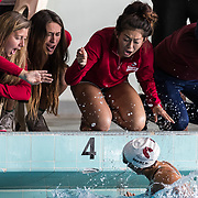 05/05/2017 - Sierra College teammates sheers during the Swimming and Diving Community College Finals at East Los Angeles College.<br /> <br /> Photo by Glenn Gervot / Sports Shooter Academy