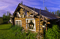 Small settlement of Wiseman (near Coldfoot), north of the Arctic Circle, Alaska during the long, light nights of mid July during Midnight Sun.