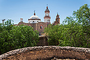 View of the Iglesia de San Diego De Alcalá church once part of the Hacienda de Jaral de Berrio in Jaral de Berrios, Guanajuato, Mexico. The abandoned Jaral de Berrio hacienda was once the largest in Mexico and housed over 6,000 people on the property.