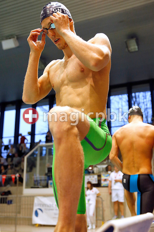 Jeremy DESPLANCHES of Switzerland prepares himself before competing in the men's 200m Butterfly A-Final during the Swiss Swimming Championships at the Hallenbad Oerlikon in Zuerich, Switzerland, Friday, March 11, 2016. (Photo by Patrick B. Kraemer / MAGICPBK)