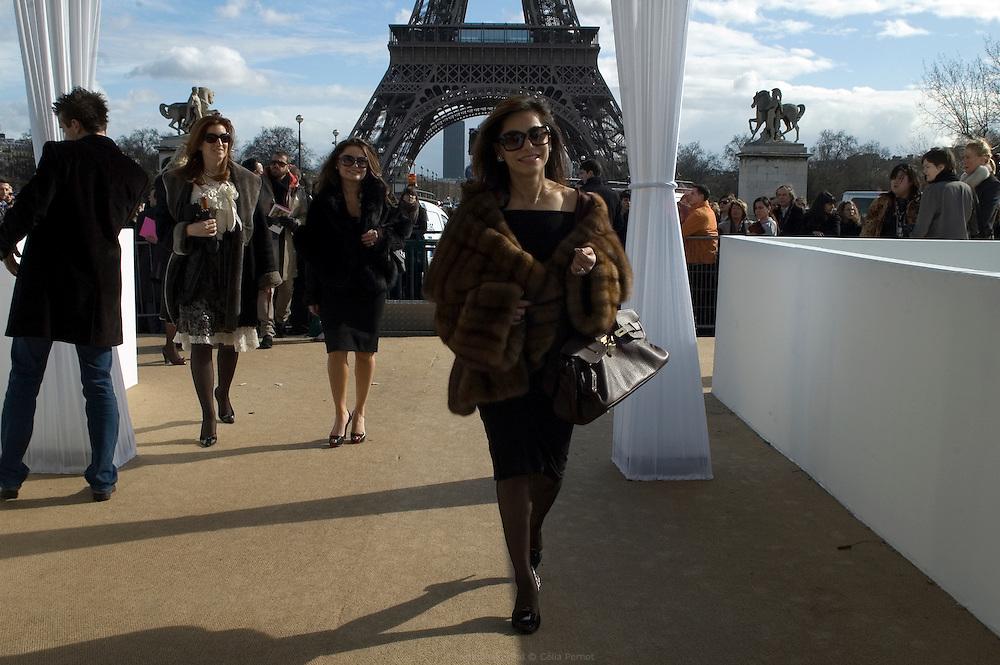 Isha Abdullah, wife of Asim Abdullah new owner of Ungaro, arriving at Ungaro fashion show