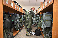 Air Force Lt. Col. Allison Patak is suits up prior to a  training flight from Joint Base San Antonio Roandolph.
