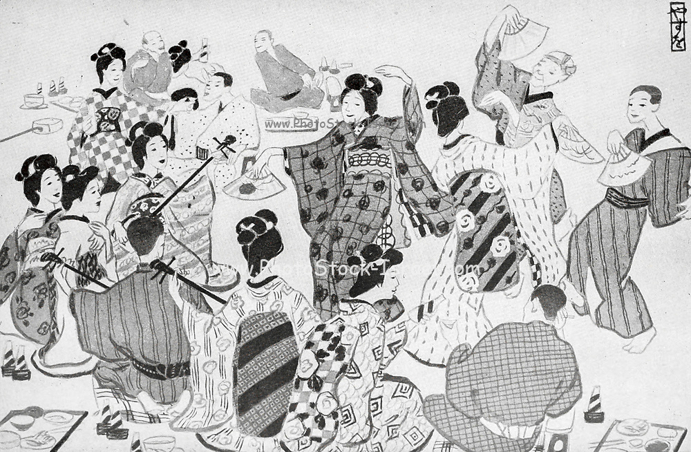 Dancing Geisha From the book ' The story of the geisha girl ' by Taizo Fujimoto, Published in London by T. Werner Laurie