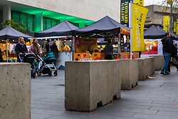 DAILY MAIL: Large concrete blocks have been placed around the Southbank Food Market as part of anti-terror measures to protect Christmas shoppers . London, November 16 2018.