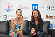 Chun Song E at the World Cup of Pesaro, Italy , 26 April, 2013.  Chun is a Korean individualistic gymnast, born on 1997 in Seul.