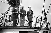 "Sea Scouts aboard the Lightship ""Albatross""..1972..22.07.1972..07.22.1972..22nd July 1972..Pictured aboard the ""Albatross""Mr Brendan O'Kelly and two sea scouts stand on the upper deck."