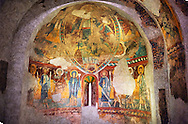 Twelfth century Romanesque frescoes of the Apse of Ginestarre, from the church of Santa Maria de Ginestarre, Catalonia, Spain. National Art Museum of Catalonia, Barcelona. MNAC 15971