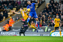 January 19, 2019 - Wolverhampton, England, United Kingdom - Diogo Jota of Wolverhampton Wanderers battling with the Danny Simpson of Leicester City for the ball  during the Premier League match between Wolverhampton Wanderers and Leicester City at Molineux, Wolverhampton, UK. On Saturday 19th January 2019. (Credit Image: © Mark Fletcher/NurPhoto via ZUMA Press)